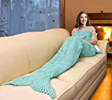 Catalonia Mermaid Tail Sherpa Blanket, Super Soft Warm Comfy Sherpa Lined Crochet Mermaids with Non-Slip Neck Strap, for Girls Women Adults Teens Birthday Valentines Mint Green