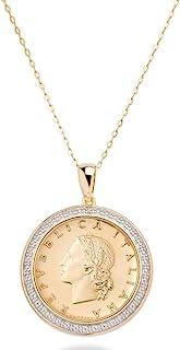 """MiaBella 18K Gold Over Sterling Silver Diamond Accent Genuine Italian 20 Lira Coin Pendant Necklace,18"""""""