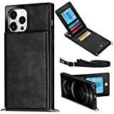 WESADN Compatible with iPhone 12 Pro Max Leather Wallet Case Girls Women Card Holder Slot Pocket Kickstand Case with Crossbody Strap Lanyard Slim Protective Magnetic Closure Purse Case Black
