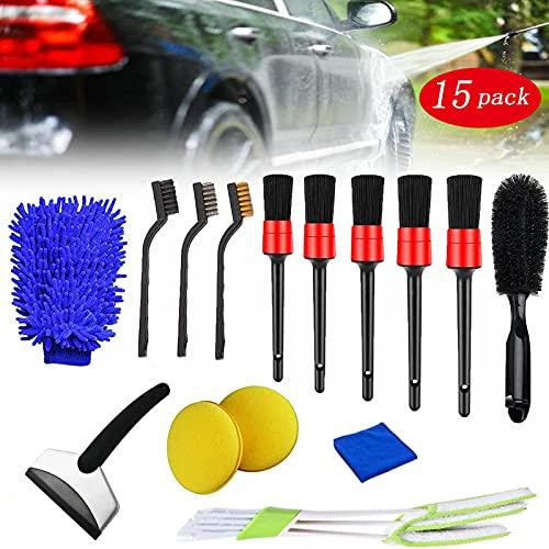 RBSFL Kit Limpieza Coche, Contiene Cepillo Limpia Llantas, Cepillo de Detalle y Guantes de Lavado de Autos, Utilizados para la Limpieza del Interior, Exterior, Motor y Llantas de los Autos, 15 Piezas