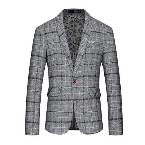 Mens Slim Fit Sport Coat Casual One Button Plaid Notch Lapel Jacket Blazer Gray