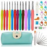 37 PCS Crochet Hooks Set, 2mm(B)-8mm(L) Ergonomic Soft Handle Crochets, Yarn Large Eye Blunt Needles, Stitch Markers Kit with Portable Case - Best Gift for Mom