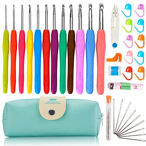 37 PCS Crochet Hooks Set, 2mm(B)-8mm(L) Ergonomic Soft Handle Crochets, Yarn Large Eye Blunt Needles, Stitch Markers Kit with Portable Case - Best Gift for Mom