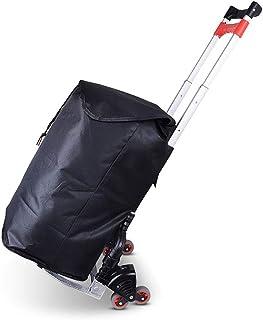 H.Slay Aluminio Carretilla de Mano, Plegable portátile Carretilla de Transporte 4 Ruedas con un cordón elástico para Personal, Viajes, Auto, Mudanzas y Oficina Industrial-Negro,B