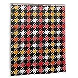 Blived Duschvorhang,Hahnentritt Kariertes nahtloses Muster in Rot,Gelb,Schwarzweiß,Wasserdicht Bad Vorhang mit Haken 180cmx180cm