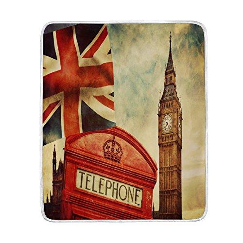 Use7 Home Decor Famous London Big Ben Union Jack - Manta para sofá de Cama, Ligera, para Viajes, Camping, 127 cm x 152,4 cm, tamaño de Manta para niños y Mujeres