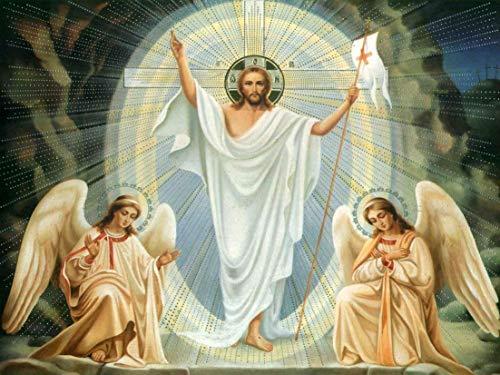 Pintura por número para adultos,kit de pintura DIY por número para principiantes o niños como regalo (16 x 20 in.) sin marco-Cristo resucitado