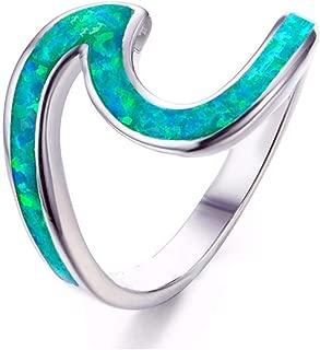 Women Dainty Thin Wave Ring Beach Sea Surfer Island Jewelry