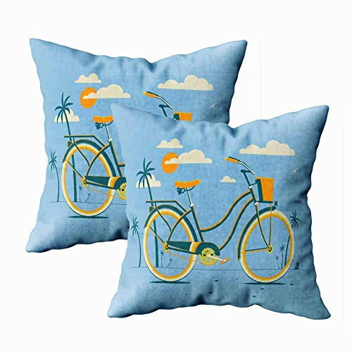 N / A Throw Pillow Case, Square Both Sides Pillow Covers Pack 2 Retro Style Bicycle Evening Beach Sun Clouds Sky Summer Vacation Illustration Cruiser for Kids Pillow Cover