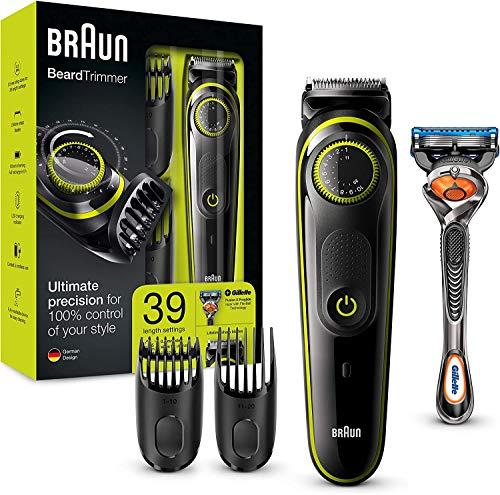Braun Recortadora Barba BT3041 Recortadora de Barba y Cortapelos, Eléctrico con Cuchillas Afiladas, Maquinilla Gillette Fusion5 ProGlide con Tecnología FlexBall de Regalo, Negro y Verde
