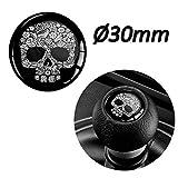 Biomar Labs® 1 x Schalthebel Aufkleber 3D Gel Silikon Sticker Schaltknauf Emblem Punisher Skull...