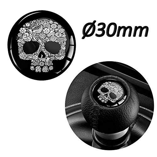 Biomar Labs® 1 x Schalthebel Aufkleber 3D Gel Silikon Sticker Schaltknauf Emblem Punisher Skull Schädel Totenkopf Auto S 67