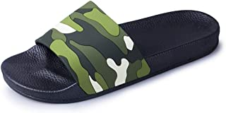 Mens Summer Beach Slippers Leisure Sandals Shoes Antislip Indoor Shower PU Leather Round Open Toe Flat Camouflage Quick Dry Pool Slide Wear Resistant (Color : Green, Size : 5 UK)