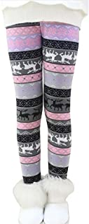 Bjinxn Girls Winter Thick Warm Long Pants Printing Fleece Lined Leggings