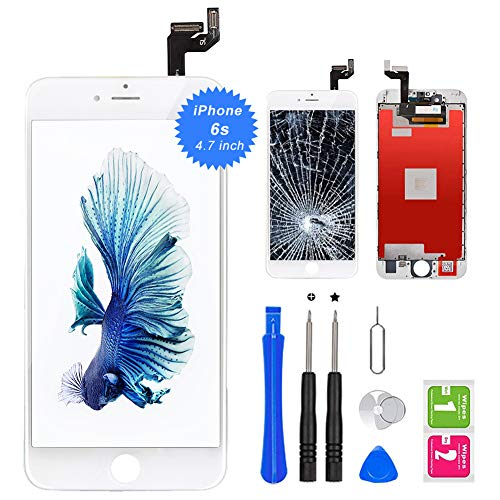 """QTlier iPhone 6s Screen Replacement 4.7"""" White,LCD Display & Touch Screen Digitizer with 3D Touch Frame Assembly Set for iPhone 6s 4.7 inch with Repair Tool kit"""
