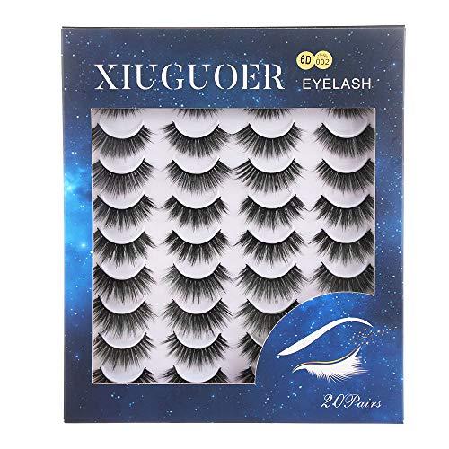 SKONHED 20 Pairs Erweiterung der Lash Wispies Fluffy Lange Kreuz-Kreuz 3D Mink Lashes Natürliche Stile mischen Falsche Augenbrauen(6D-002)