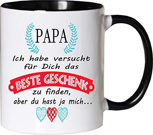 Mister Merchandise Becher Tasse Papa Kaffee Kaffeetasse liebevoll Bedruckt Geschenkidee Familie Weiß-Schwarz