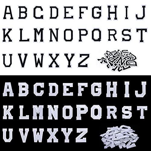 Patch Lettere Termoadesive, 52 Pezzi Toppe Applique con Alfabeto A-Z, Lettere Ricamate in Tessuto da Cucire o Stirare, Decorative di Riparazione per Cappello Giacche Scarpe