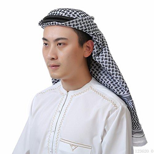 Mens Arab Keffiyeh Shemagh Desert Prince Head Wrap Scarf Middle Eastern Traditional Islamic Muslim Headwear (10# Black)