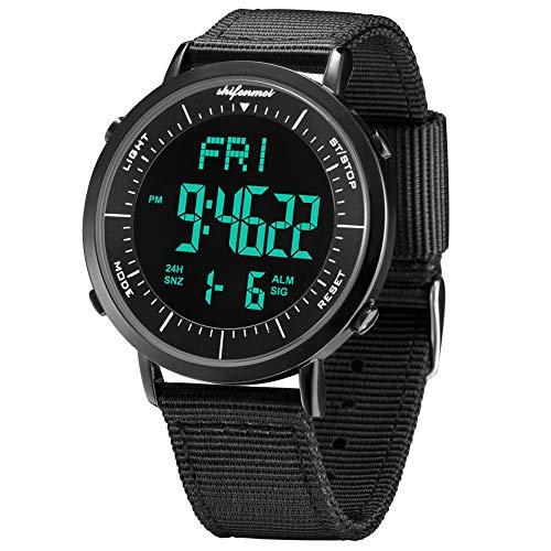 Shifenmei Digitale Uhren Sportuhr Einfarbiges Design Wasserdicht Wochentagsanzeige Nylon Armband Multifunktionen inkl. Wecker, Stoppuhr, LED beleuchtet mit Geschenkbox (A,Schwarz,Minus)