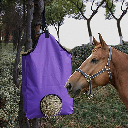 NUOLANDE Hay Feeder Tote Bag for Horses,Slow Feeding Hay Bag with D Rings Canvas Tote for Horses Goats Alpacas,Black
