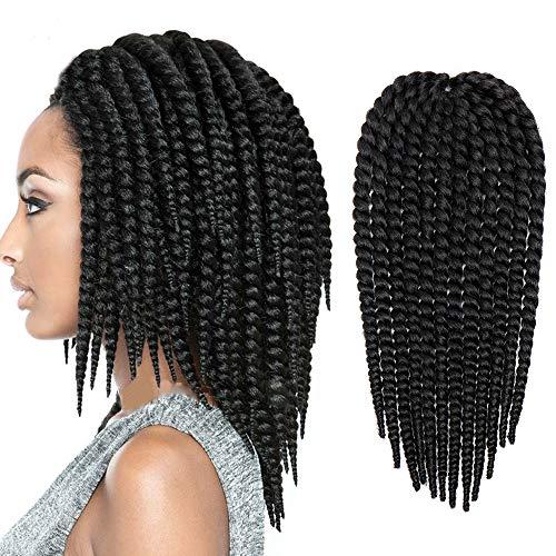Extension Treccine Capelli Ricci Finti [Nero] Treccia da Donna Havana Mambo 45cm Pre Braiding Braids Hair Dreadlock 1 Bundle Capelli Lunghi Sintetici Mossi Fibre Crochet