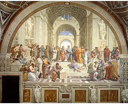N/D Malen nach Zahlen Kit Aristoteles und Plato Gemälde für zu Hause Wohnzimmer Büro Weihnachten Neujahr Valentinstag Dekor Dekorationen Geschenke 16 * 20 Zoll Kein Rahmen