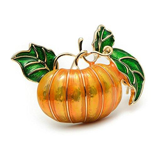 TOOGOO Halloween Kuerbis Brosche Legierung Gruen Blaetter Orange Emaille Kuerbis Frauen Hochzeiten Bankett Brosche Pins