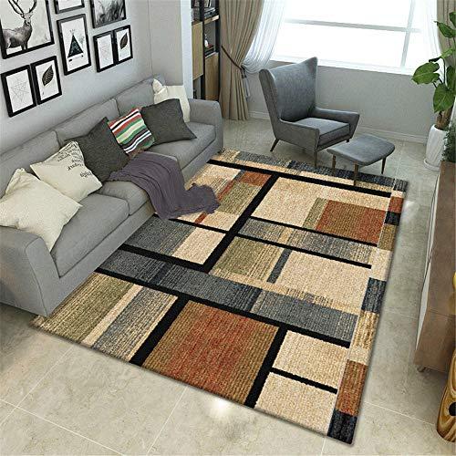 Alfombras Alfombra niños habitacion Alfombra Duradera de diseño geométrico Amarillo Suave marrón Negro Alfombra Pelo Corto decoración de habitación 50*120CM