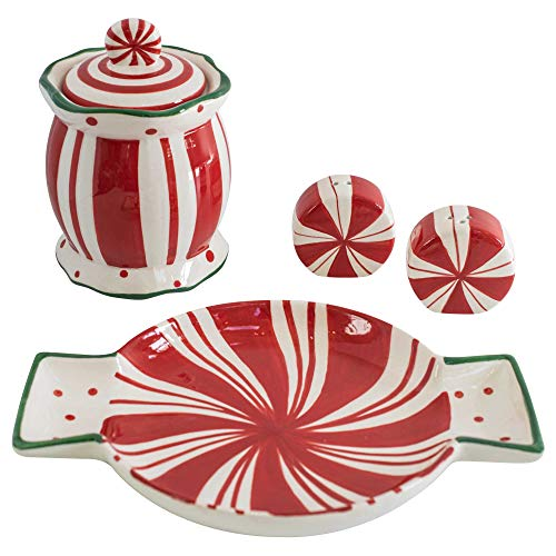 Christmas Sale! Christmas Candy Jar and Candy Dish/Dessert Plate - Red Peppermint Striped Ceramic Decorative Holiday Table Treat Display. Also Includes Bonus Matching Salt and Pepper Shaker Set