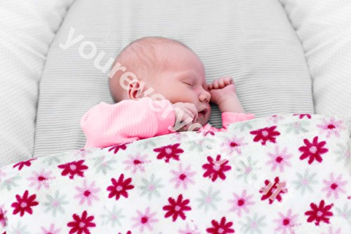 First Steps Soft Flower Patterned Pink Printed Flannel Baby Blanket 75cm x 100cm