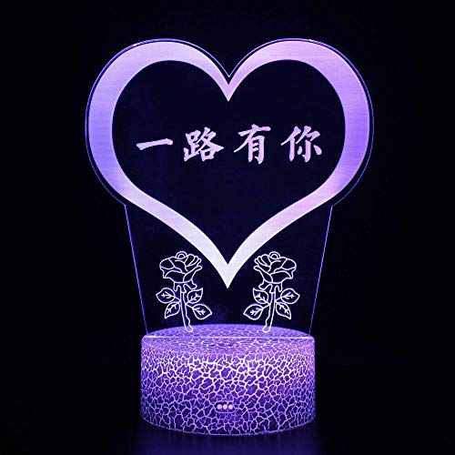 3D Led Night Light 3D Optical Illusion Lamp Love,USB Charger, Pretty Cool Toys Gifts Ideas Birthday Holiday Xmas for Baby
