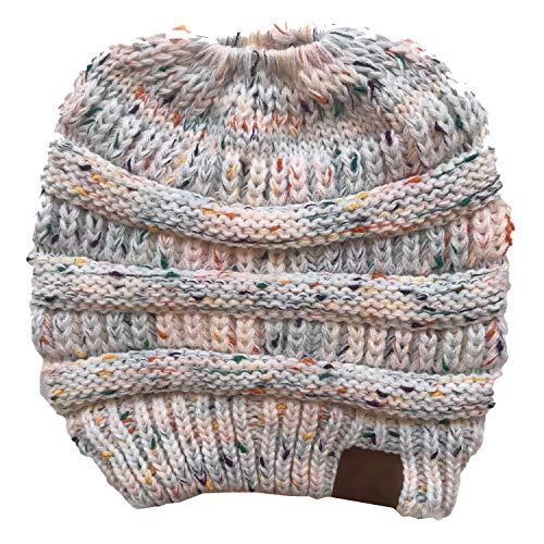 Aikowener Damen Gestrickt verdicken Hut Mit Zöpfen Loch Loop Strickschal Mädchen Strickmütze Wintermütze (20 x 21 cm, Mehrfarbig-Weiß)