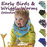 Early Birds & Wriggly Worms Set of Funky Giraffe Bandana Bibs (Set of 5)