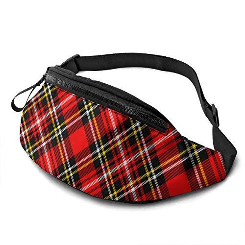 OPLKJ Textured Tartan Plaid Adjustable Fanny Running Waist Pack Bag