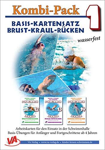Kombi-Pack 1: Brust-Kraul-Rücken, wasserfest: Schwimmen lernen Basis-Kartensatz (Lehrer-/Trainer-Kartensatz laminiert: Arbeitskarten für den Schwimmunterricht)