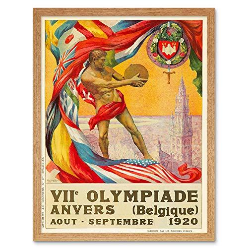 Wee Blue Coo Sport Advert 1920 Olympische Spelen Antwerpen België Vlag Discus Art Print Ingelijste Poster Muurdecoratie 12X16 Inch