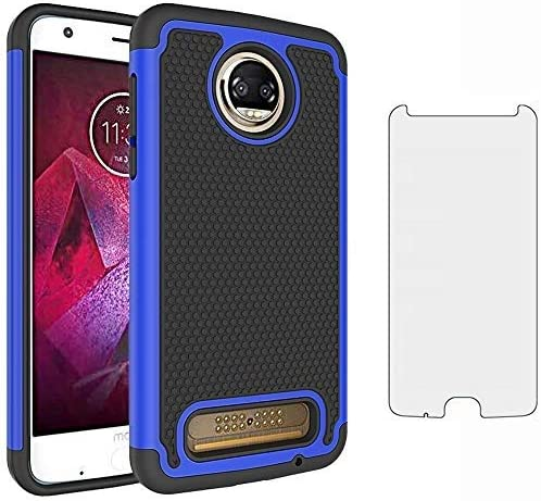 Phone Case for Moto Z2 Force with Tempered Glass Screen Protector Cover and Cell Accessories product image