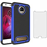 Phone Case for Moto Z2 Force with Tempered Glass Screen Protector Cover and Cell Accessories Slim Rugged Silicone Hard Hybrid Motorola MotoZ2Force Droid MotoZ2 Z2Force Z 2 2Z Cases Women Black Blue