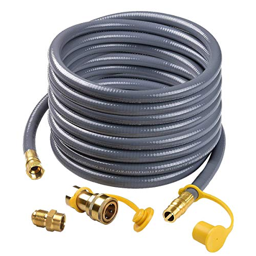 """Camplux 24Ft 1/2"""" Male Flare Quick Connect Natural Gas Hose, Low Pressure Appliance with Quick Connect/Disconnect 3/8'' Female Flare by 1/2'' Male Flare Adapter"""