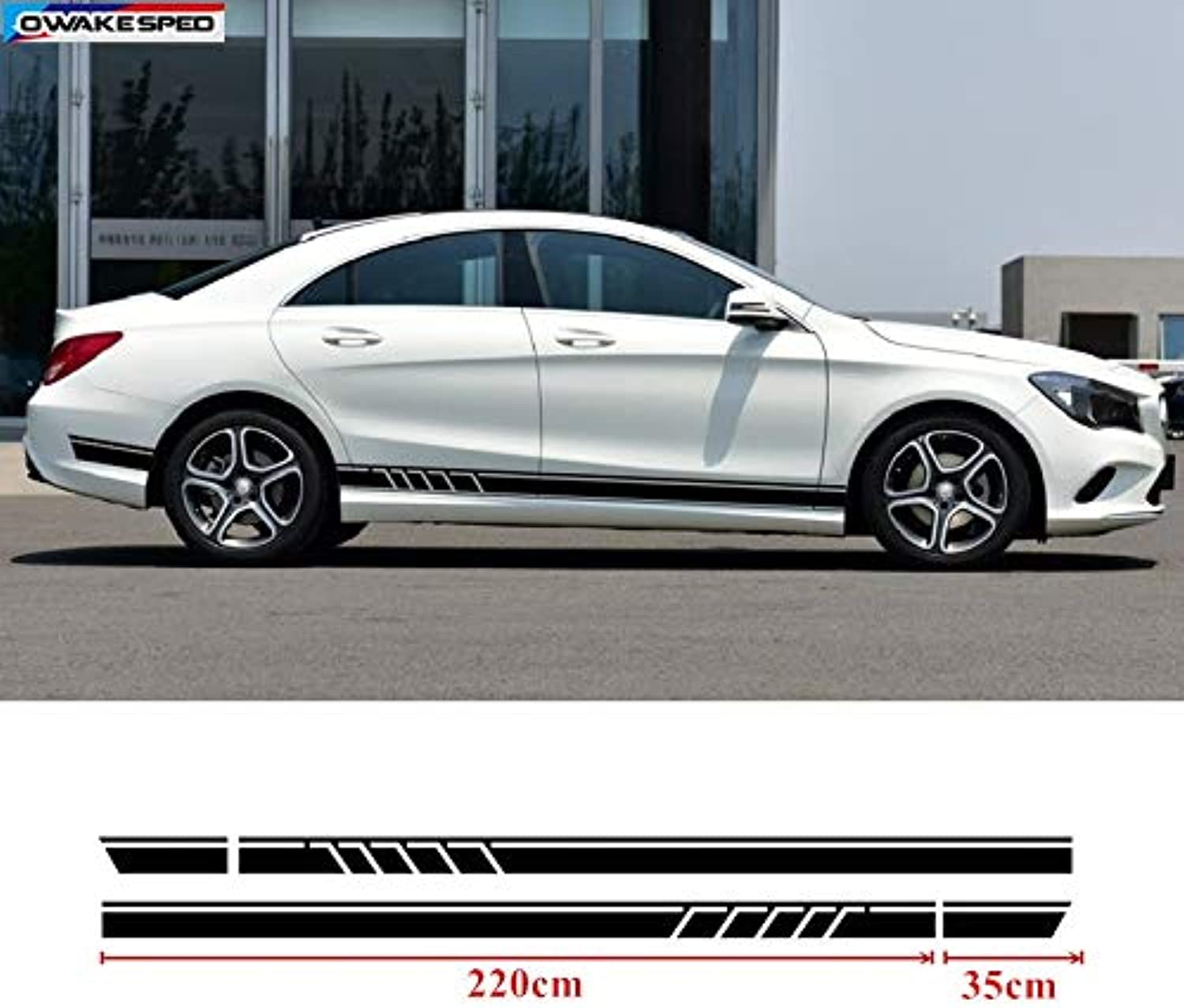 Sport Stripes Decals Car Door Side Skirt Stickers Auto Body Decal for Mercedes Benz CLA GLA W117 C117 X117  (Style  Matte Black)