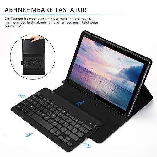 Jelly Comb Huawei MediaPad M5 Lite 10.1 Beleuchtete Tastatur Hülle, QWERTZ Bluetooth Tablet Tastatur mit Ultraslim Schützhülle für Huawei MediaPad M5 25,54cm (10,1 Zoll) mit 7-farbigen Beleuchtung - 3