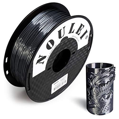Noulei Filamento PLA per stampanti 3D, 1.75 mm, Shiny 3D Printing Filament Silk BLACK 1kg