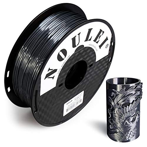 Noulei Shiny PLA 3D Printing Filament 1.75mm Silk BLACK for 3D Printer and 3D Pen, 1kg 1 Spool +/-0.02mm
