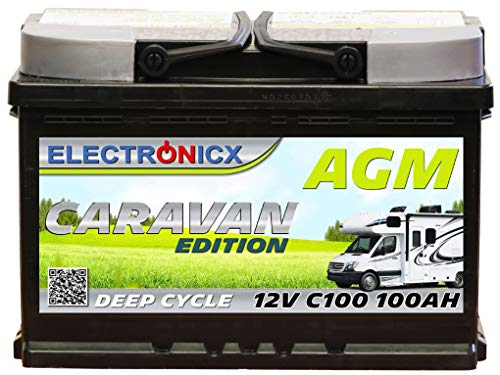 Electronicx Caravan Edition Batterie AGM 100 AH 12V Wohnmobil Boot Versorgung