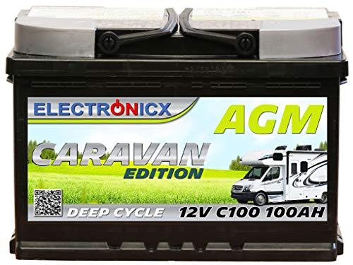 Electronicx Caravan Edition Batterie AGM 100AH 12V Wohnmobil Boot Versorgung Solarbatterie Versorgungsbatterie 100ah