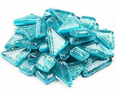 Mosaic Tiles,Glass Tiles, Shine Crystal Mosaic Glass Pieces Bulk Assorted Square and Triangle Glitter Crystal Mosaic Tiles for Home Decoration or DIY Crafts 200g (Light Blue)