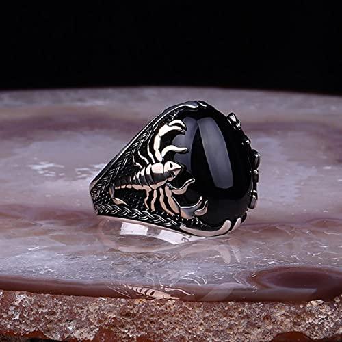 CHENLING 2021 Nueva tendencia para hombre anillo escorpión patrón obsidiana anillo gótico punk...