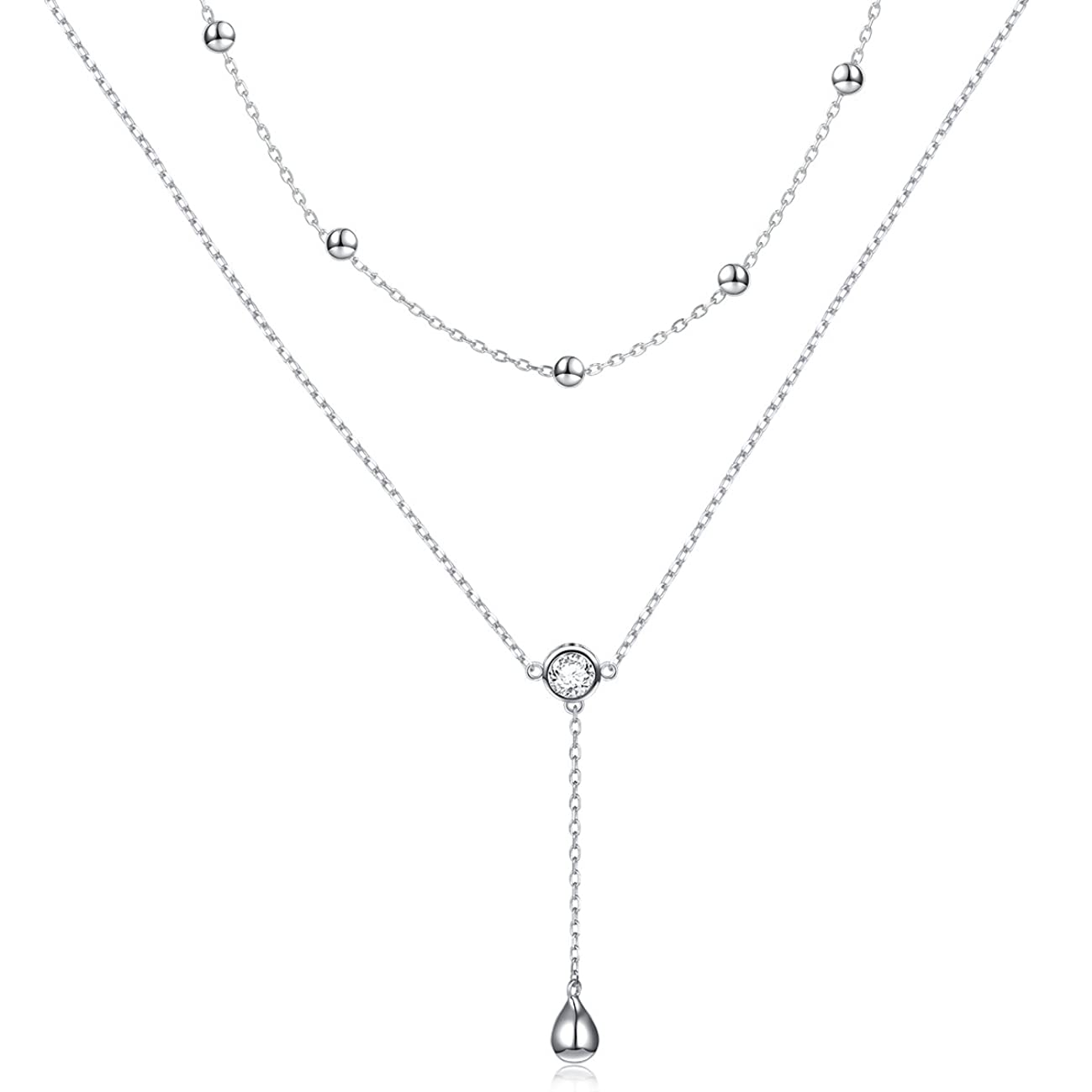 FLYOW Layered Necklace S925 Sterling Silver Teardrop Double Choker Y Lariat Necklace Gifts for Women Girls