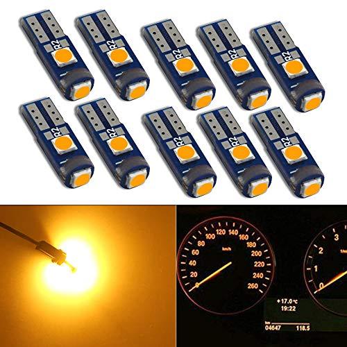 HSUN T5 74 37 2723 2721 W3W Ampoule à coin LED,3LED SMD3030 Puce 600LM extrêmement brillante pour voyant de tableau de bord pour indicateur de voiture Auto Instrument,10 pièces,ambre